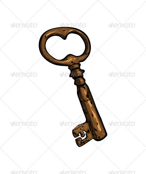 Old rusty cartoon key