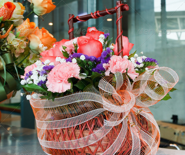 Flowers in a basket - Stock Photo - Images