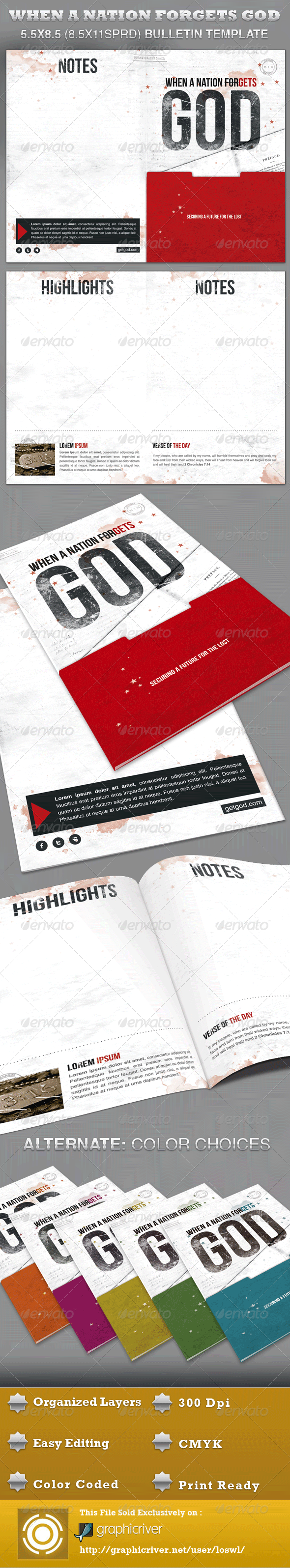 GraphicRiver When a Nation Forgets God Bulletin Template 3284799