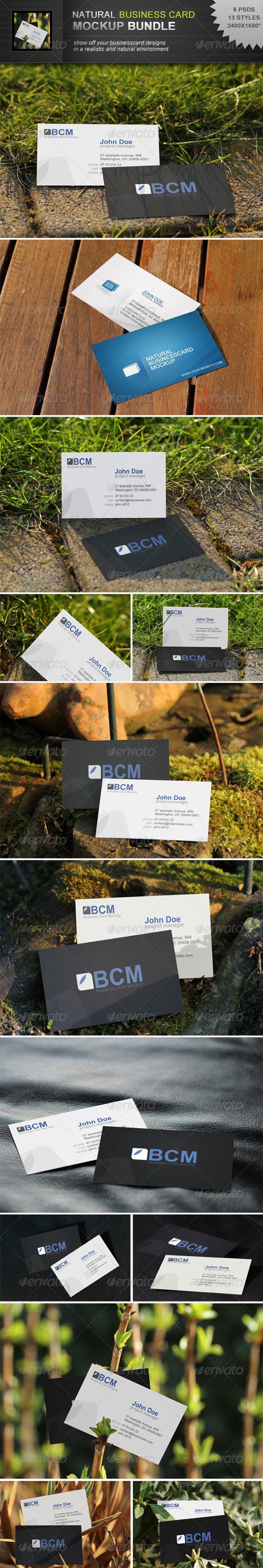 GraphicRiver Natural Businesscard Mockup Bundle 3285197