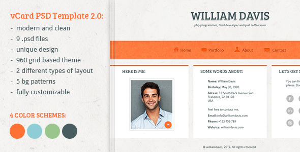 ThemeForest William Davis vCard PSD Template 2912269