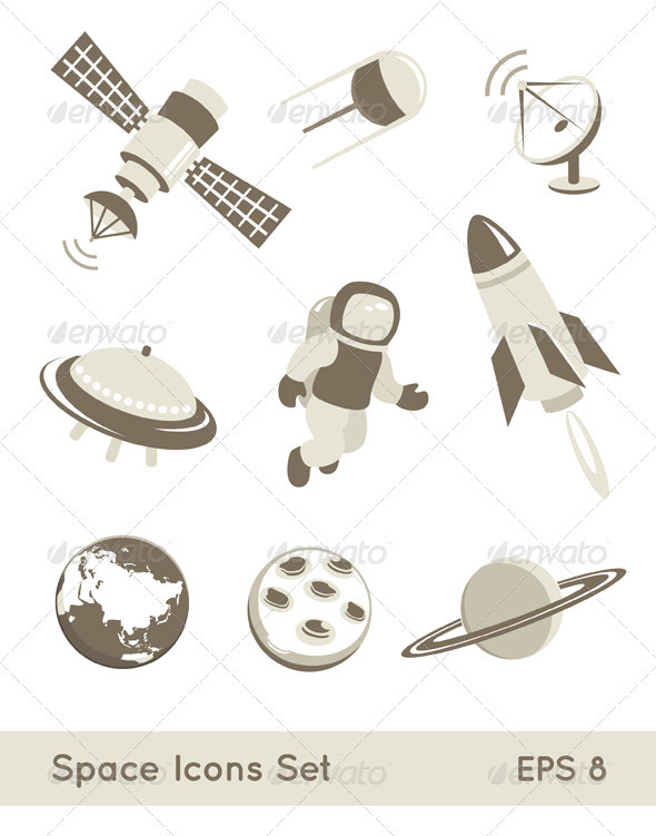 Space And Air Transport Icons Set