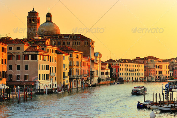 Grand Canal in Venice, Italy - Stock Photo - Images