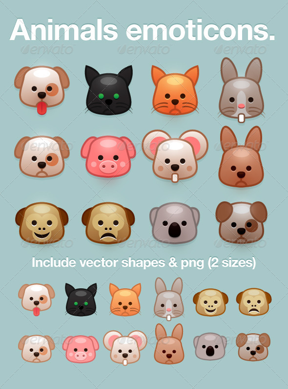 Animal Emoticon Smileys - Animals Characters