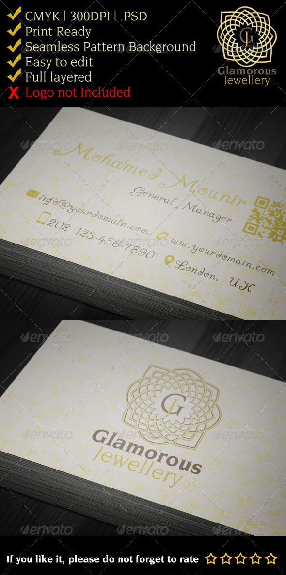 GraphicRiver Glamorous Jewelry Gallery Business Card 3285745