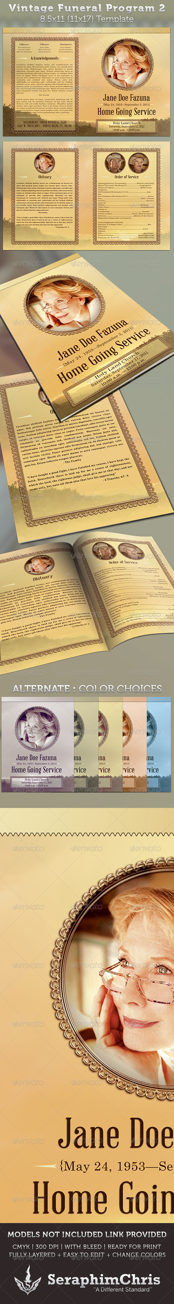 GraphicRiver Vintage Funeral Program Template 2