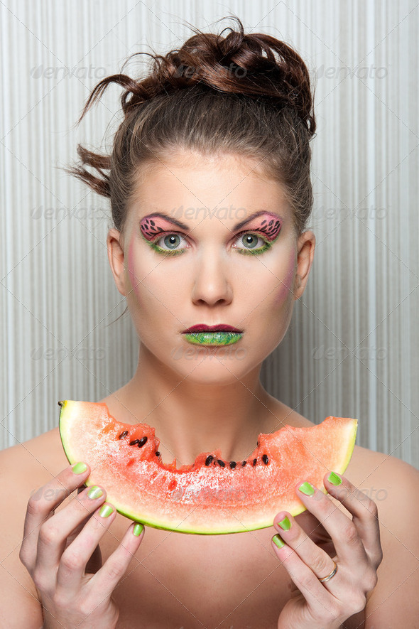 watermelon girl - Stock Photo - Images