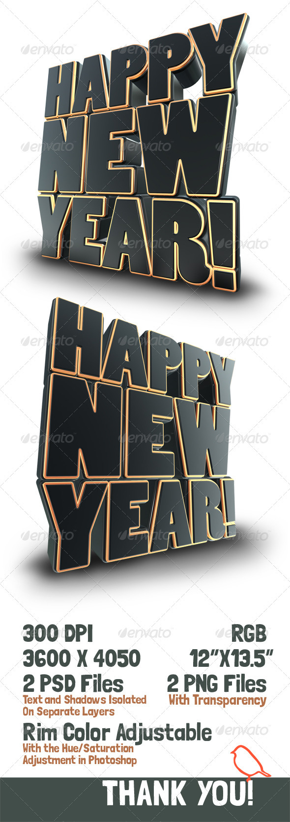 GraphicRiver Happy New Year 3D Text Render 3286175