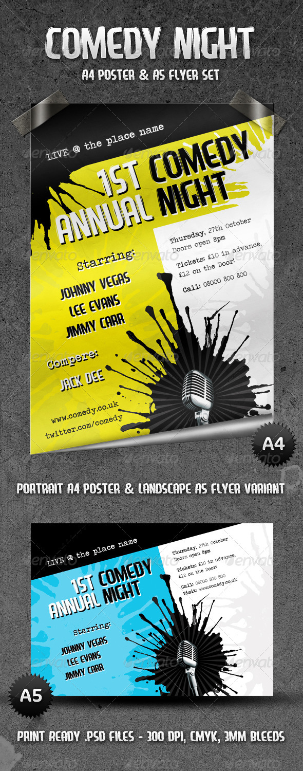 Comedy Night - Flyer & Poster Set - Concerts Events