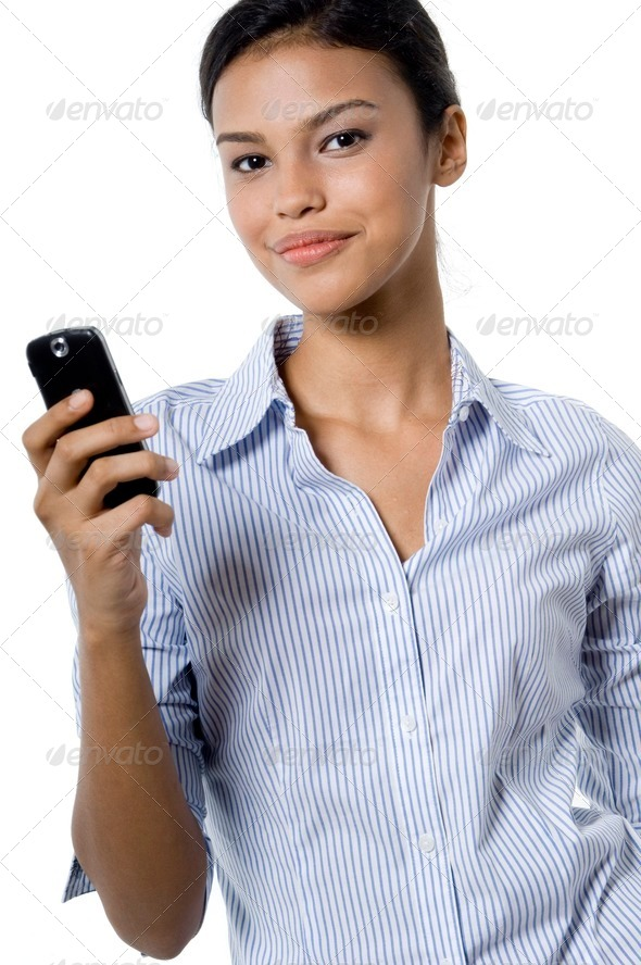 Woman With Phone - Stock Photo - Images