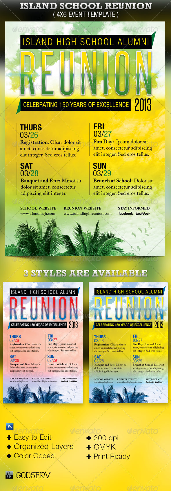 Island School Reunion Flyer Template - Events Flyers