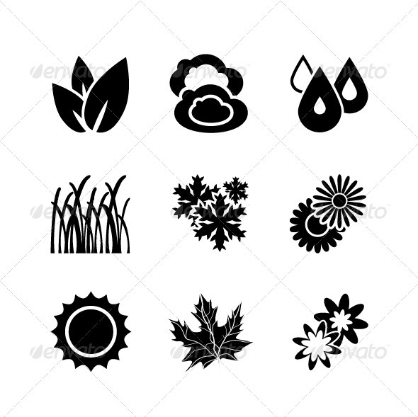 GraphicRiver Black Nature Icons 3286502