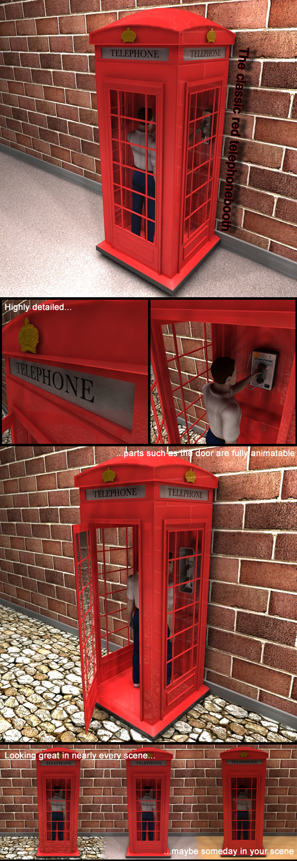 3DOcean Red Classic Telephone Booth 115979