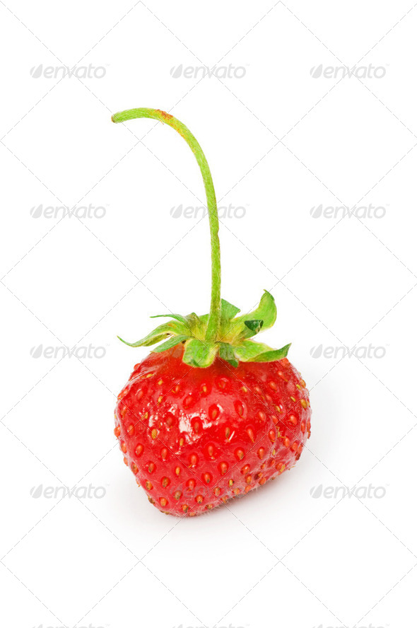 Red strawberry isolated on the white background - Stock Photo - Images