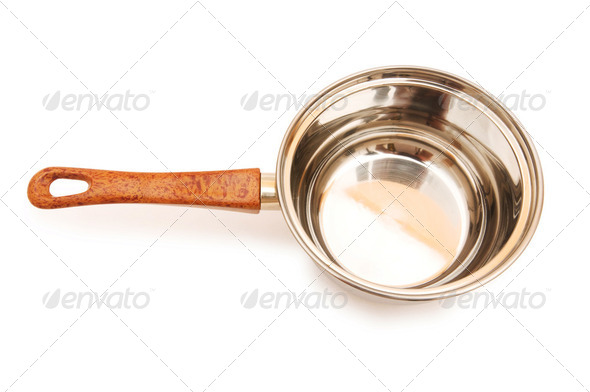Silver saucepan isolated on the white background - Stock Photo - Images