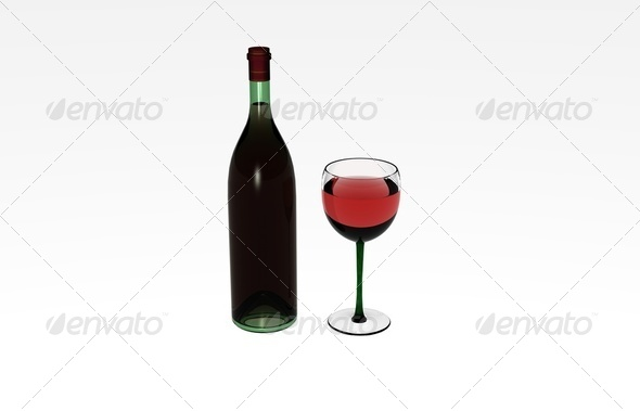 Wine bottle and glass - Stock Photo - Images