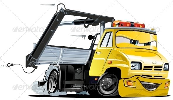 GraphicRiver Vector Cartoon Tow Truck 3287788