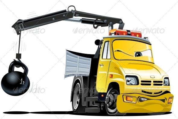 GraphicRiver Vector Cartoon Tow Truck 3287790