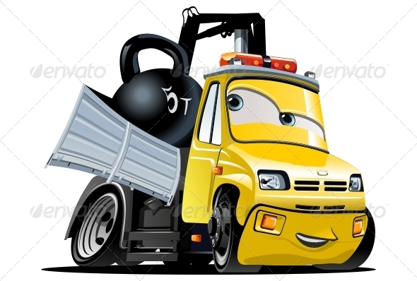 GraphicRiver Vector Cartoon Tow Truck 3287792