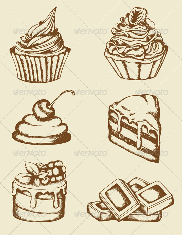 GraphicRiver Vintage Cakes and Chocolate 3287803