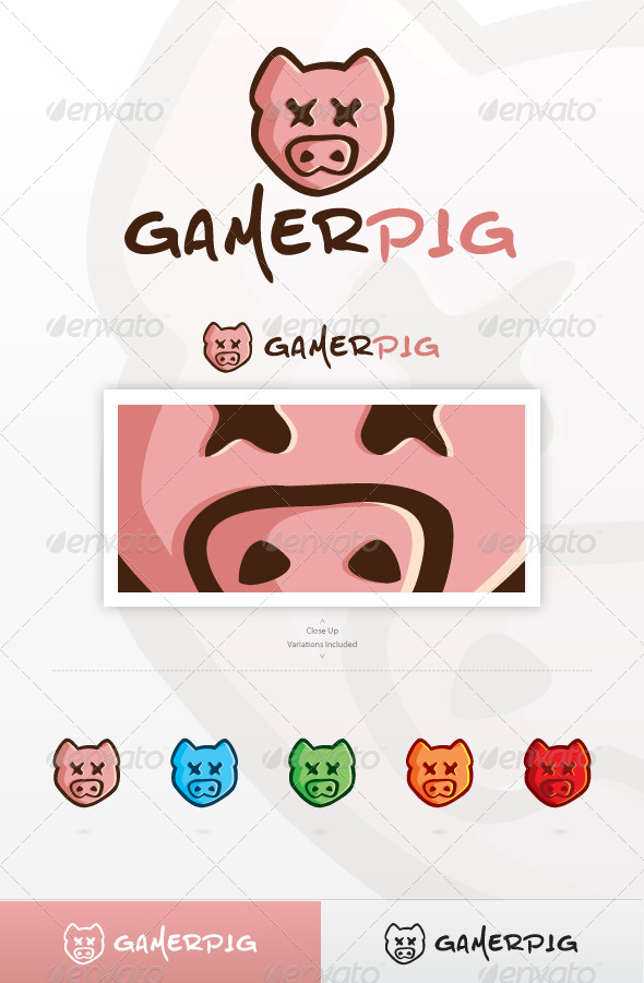 Gamer Pig Logo - Animals Logo Templates
