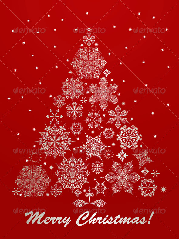 GraphicRiver Vector Christmas Greeting Card with Fir Tree 3288203
