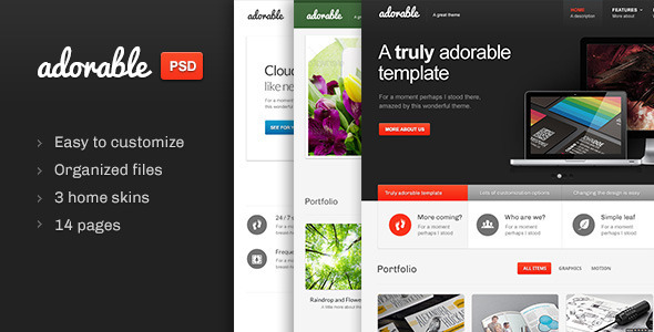 Adorable - Multipurpose PSD template - Business Corporate
