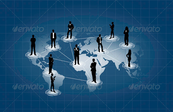 social network on world map - Stock Photo - Images