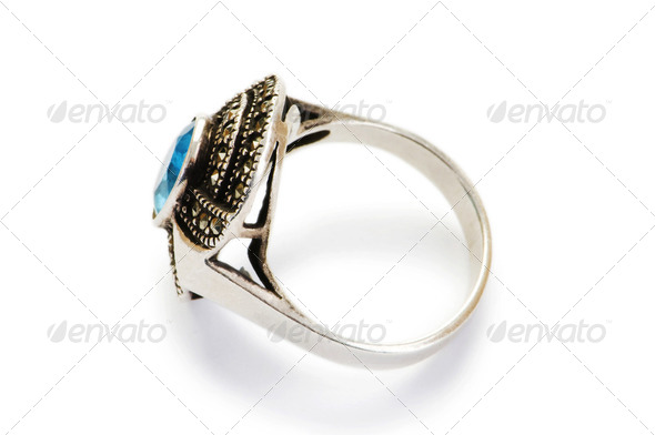 Jewellery ring isolated on the white background - Stock Photo - Images