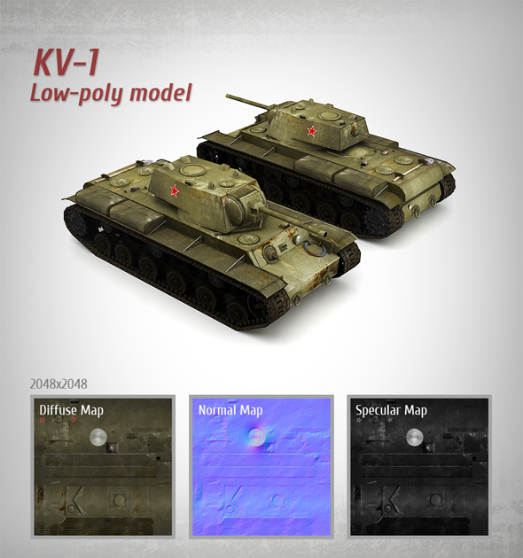3DOcean Low-poly Model Soviet Tank KV-1 3290197