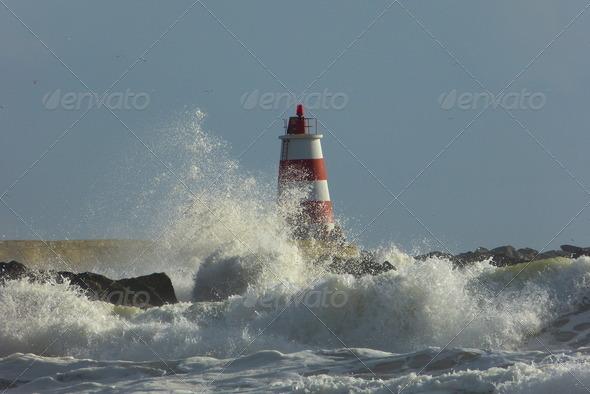 Lighthouse Waves  - Stock Photo - Images