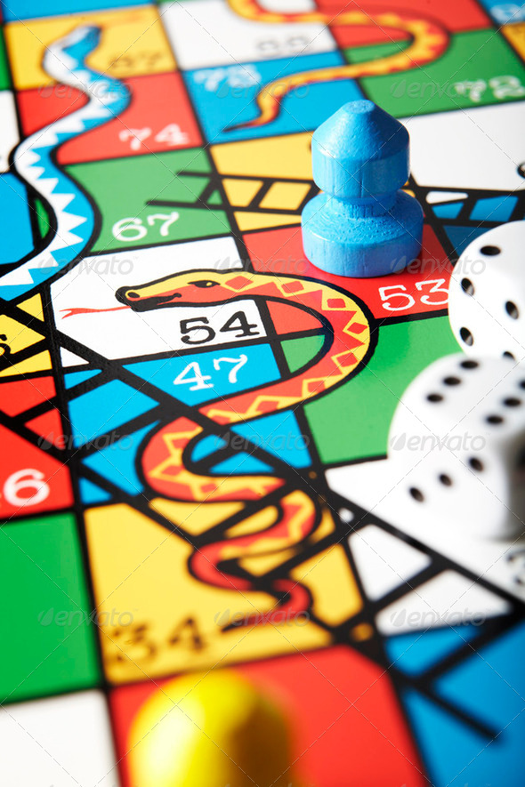 Close Up Of Snakes And Ladders Board - Stock Photo - Images