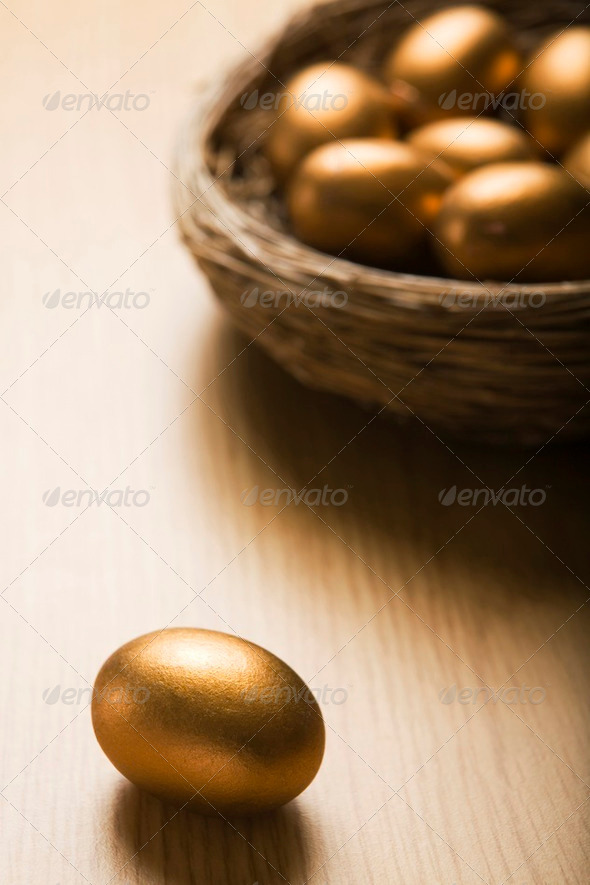 Golden Eggs In Nest - Stock Photo - Images