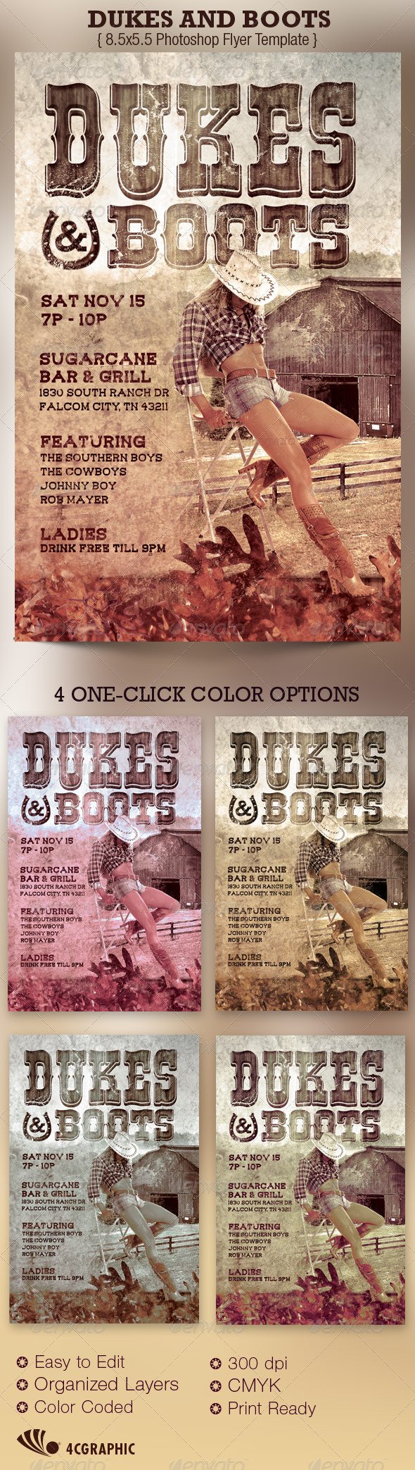 Dukes and Boots Country Flyer Template - Clubs & Parties Events