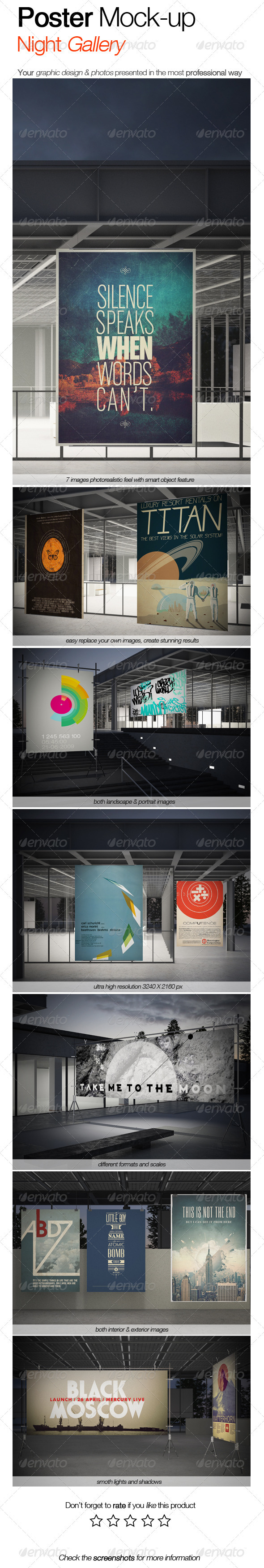 GraphicRiver Poster Mock-up Night Gallery Style 3291210