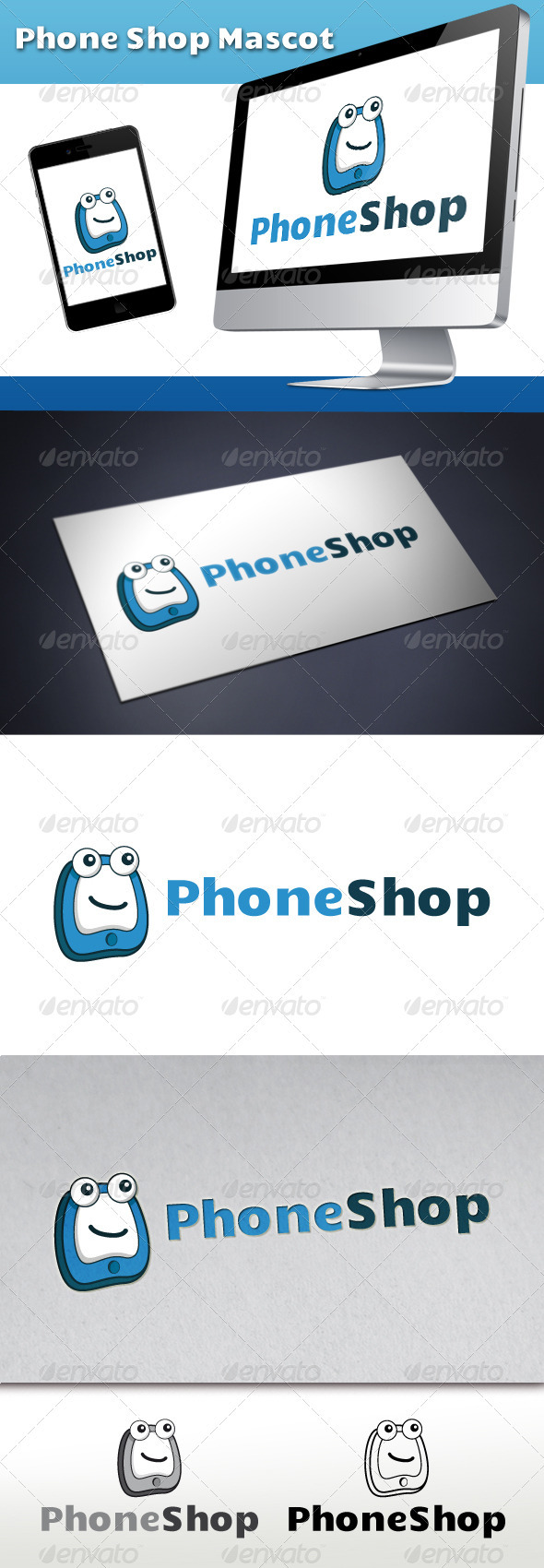 GraphicRiver Phone Shop Logo Mascot 3291419