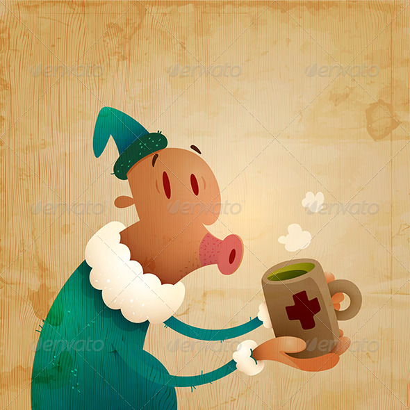 GraphicRiver Man Caught A Cold And Drinks Hot Tea 3291445
