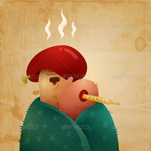 GraphicRiver Man Caught A Cold And Chills His Fever 3291458