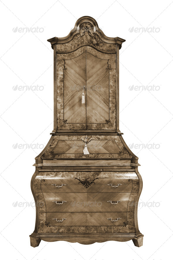wooden bureau - Stock Photo - Images
