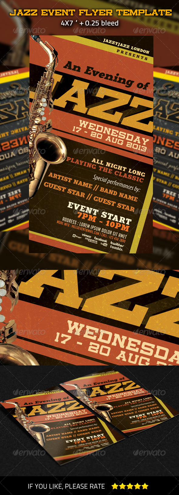 GraphicRiver Jazz Event Flyer Template 3282107