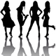 Silhouettes of four beautiful girls - GraphicRiver Item for Sale
