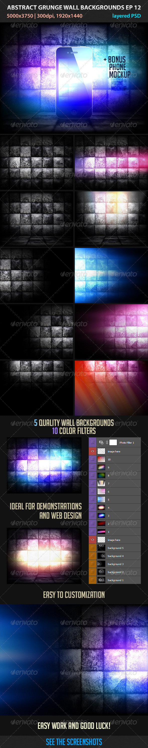 GraphicRiver Abstract Grunge Wall Backgrounds ep 12 3291883