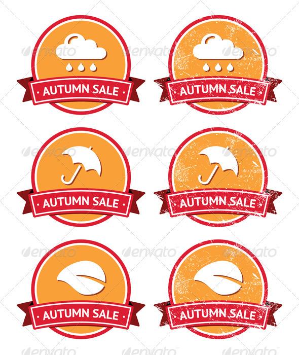 GraphicRiver Autumn sale retro orange and red labels grunge 3292001