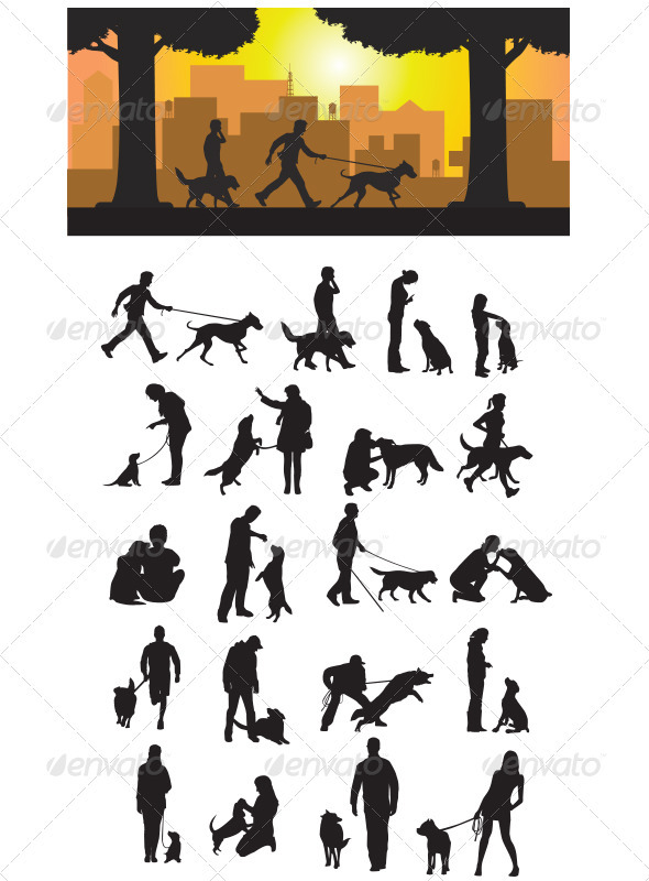 GraphicRiver Dog And His Master Silhouette 3292167