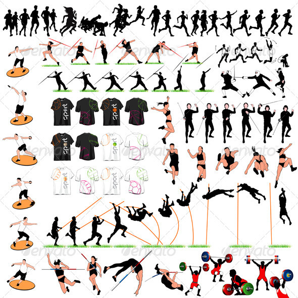 GraphicRiver 88 Sport Silhouettes and T-shirts Set 3292202
