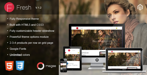 ThemeForest Fresh Responsive Magento Theme 3101822