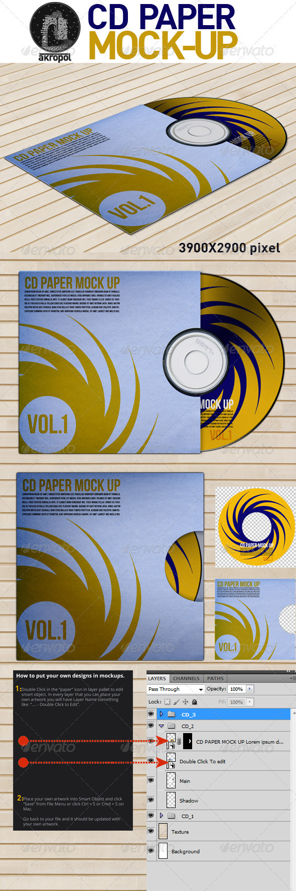 GraphicRiver CD Paper Mock Up 3293041