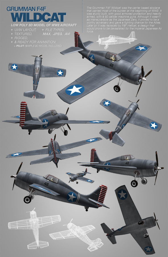 3DOcean Grumman F4F Wildcat 3Ds model of WW2 aircraft 116262