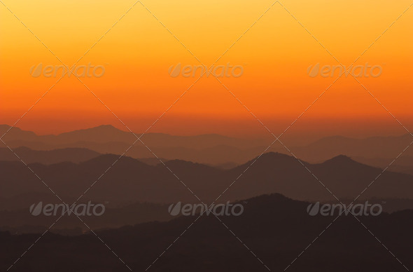 Morning over mountain in northeast of Thailand - Stock Photo - Images