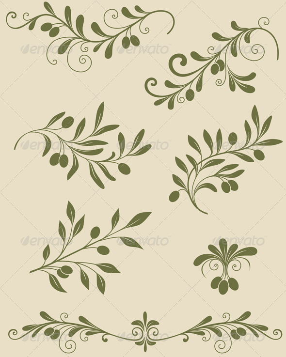 GraphicRiver Decorative Olive Branch 3295397